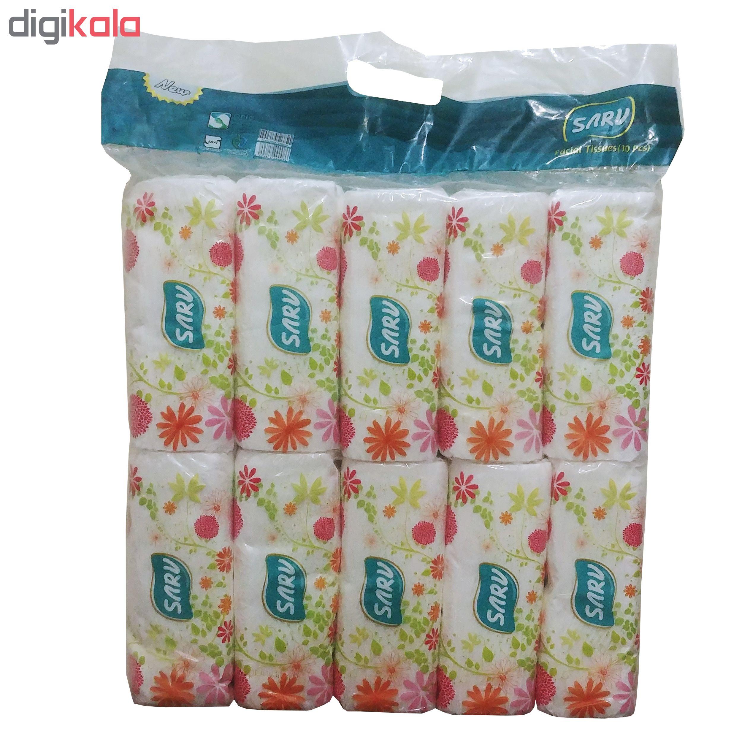 دستمال کاغذی 200 برگ سرو طرح پیچک بسته 10 عددی