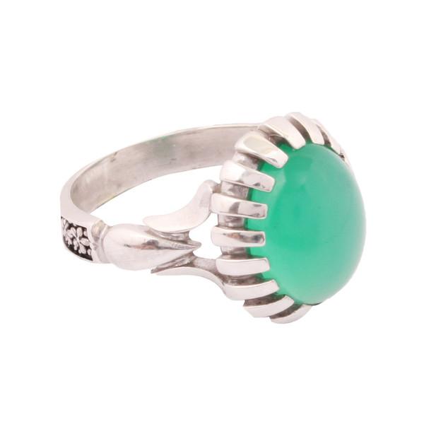انگشتر نقره مردانه با سنگ عقیق سبز آرگو مدل D-12-2RM010