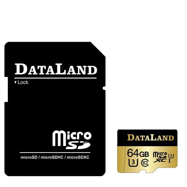 کارت حافظه  دیتالند مدل 600x کلاس 10 استاندارد UHS-I U3 سرعت 100MBps ظرفیت 64 گیگابایت همراه با آداپتور SD