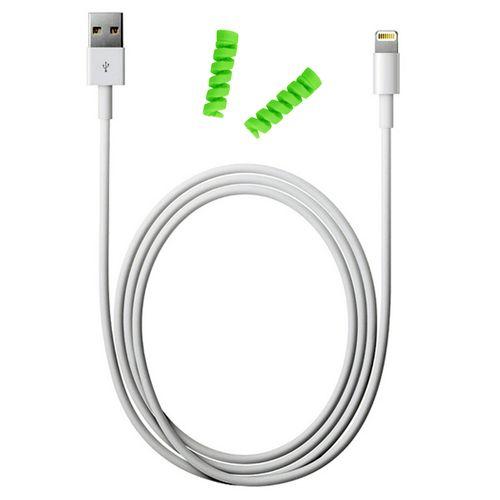 کابل شارژ آیفون USB به لایتنینگ مدل KL به طول 2 متر به همراه دو عدد محافظ کابل سیلیکونی
