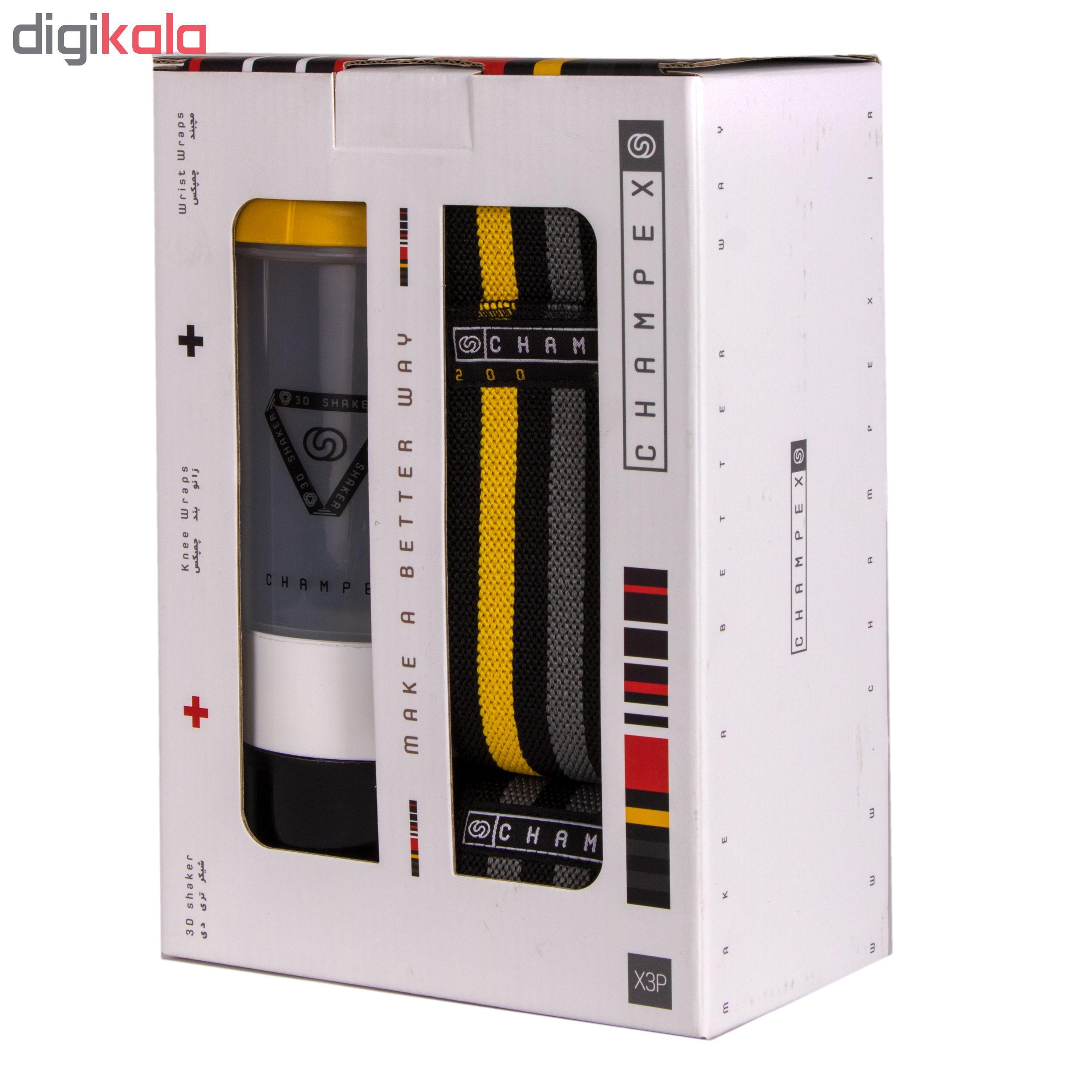 مچ بند و زانو بند چمپکس مدل 3XP Yellow-Grey مجموعه 4 عددی به همراه شیکر چمپکس
