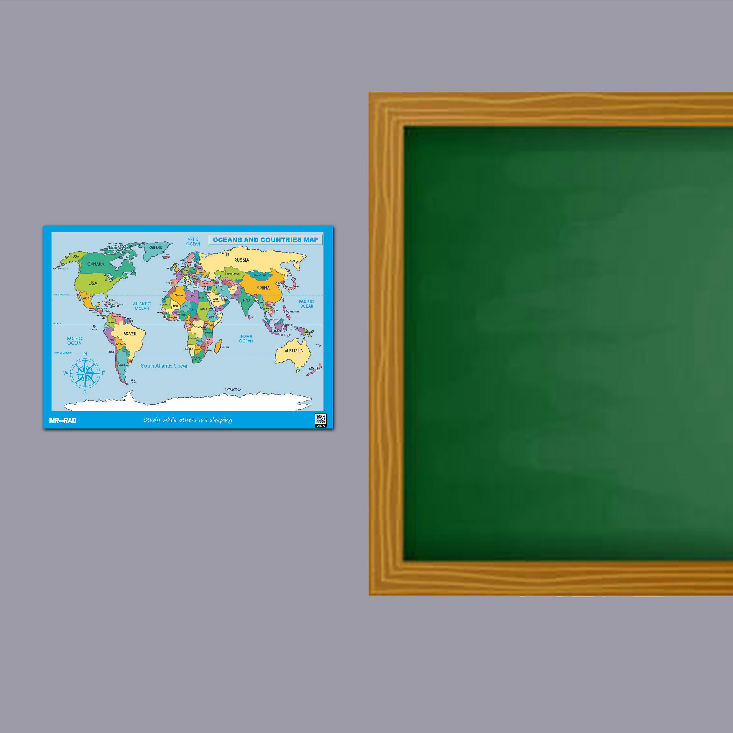 پوستر آموزشی FG طرح نقشه اقیانوس ها و کشورها مدل map10070