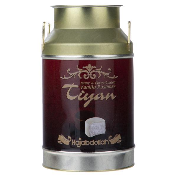 پشمک لقمه ای وانیلی با روکش کاکائویی و شیری حاج عبدالله مقدار 300 گرم