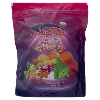 پشمک لقمه ای میوه ای با روکش شکلاتی حاج عبدالله مقدار 350 گرم