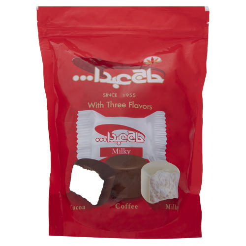 پشمک لقمه ای وانیلی و پودر قهوه فوری با روکش شیری و کاکائویی حاج عبدالله مقدار 350 گرم