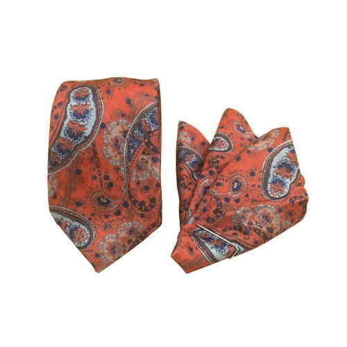 ست کراوات و دستمال جیب مدل BT-flower20