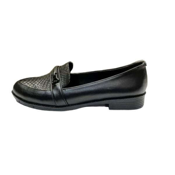 کفش کالج زنانه مدل رویه سنگی سگک ساده کد 4445 رنگ مشکی