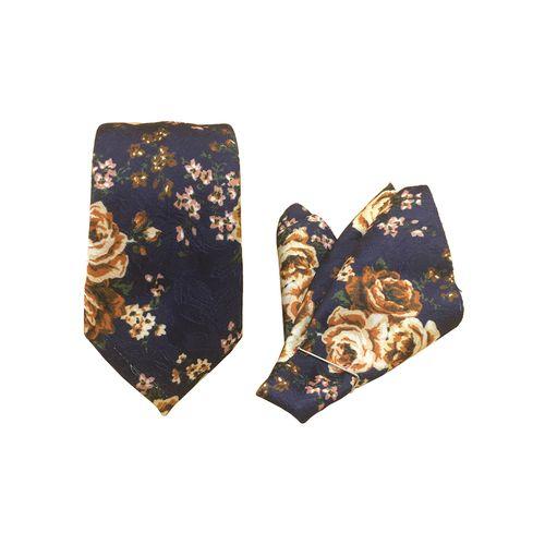 ست کراوات و دستمال جیب مدل KD-flower32