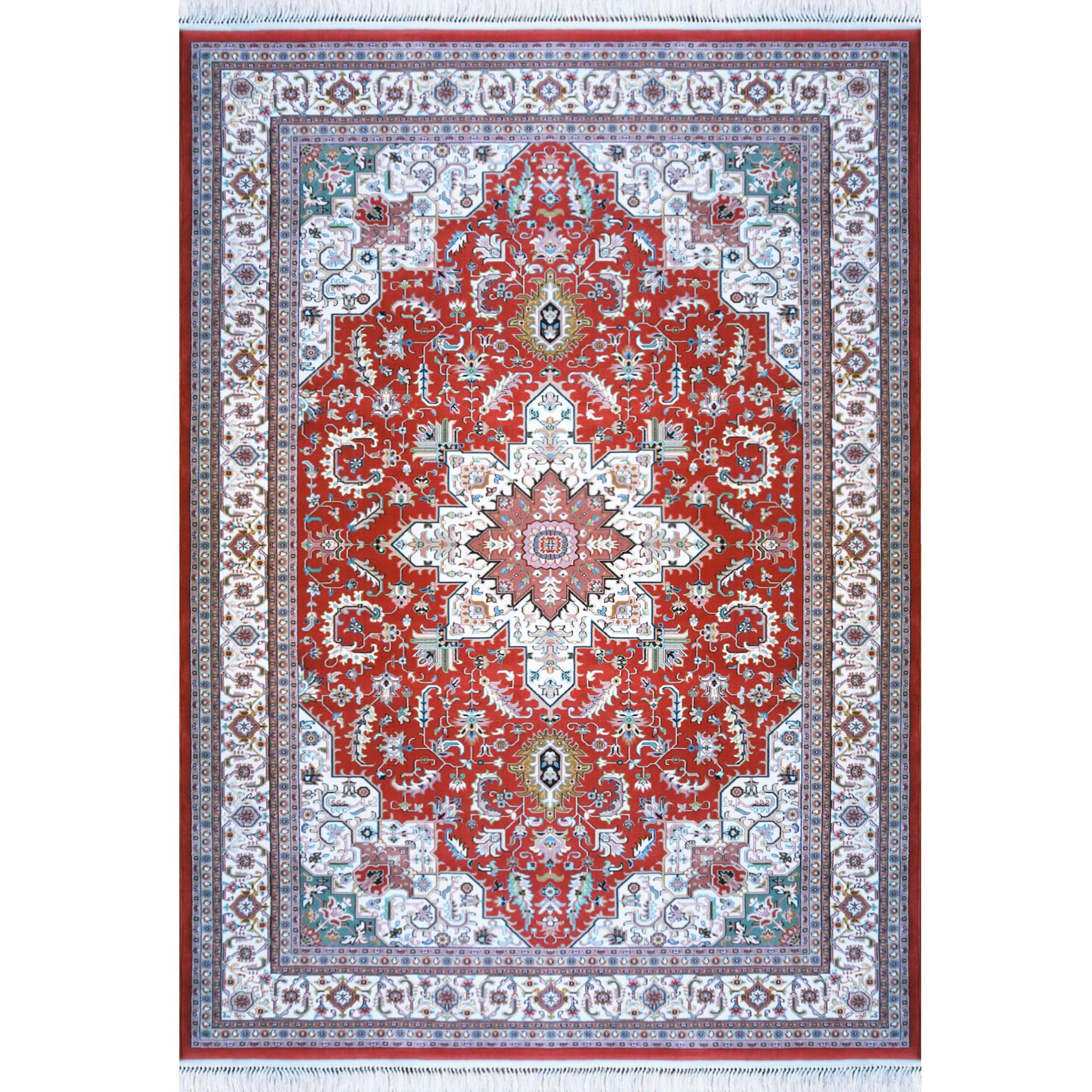 فرش ماشینی فرش رادین اصفهان طرح هریس رنگ زمینه گوجه ای