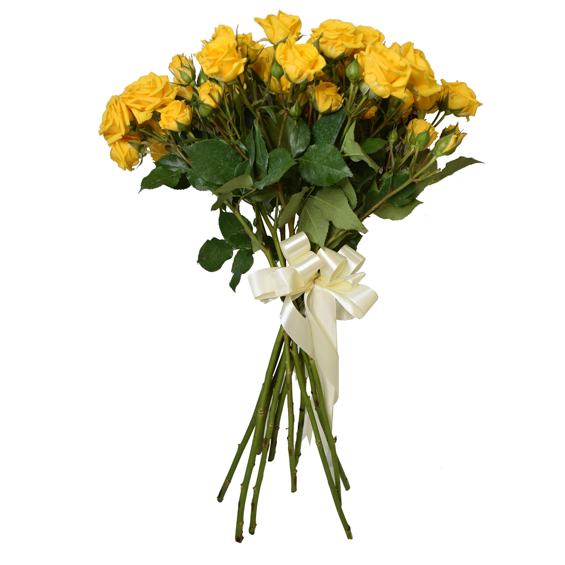 شاخه گل رز مینیاتوری زرد دسته 12 عددی