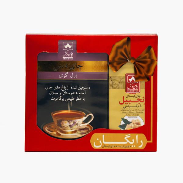چای ارل گری چای دبش - 500 گرمی و چای کیسه ای دم کردنی زنجبیلی دبش بسته 10 عددی