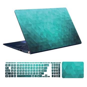 استیکر لپ تاپ توییجین و موییجین طرح هندسی کد 01 مناسب برای لپ تاپ 15.6 اینچ به همراه برچسب حروف فارسی کیبورد