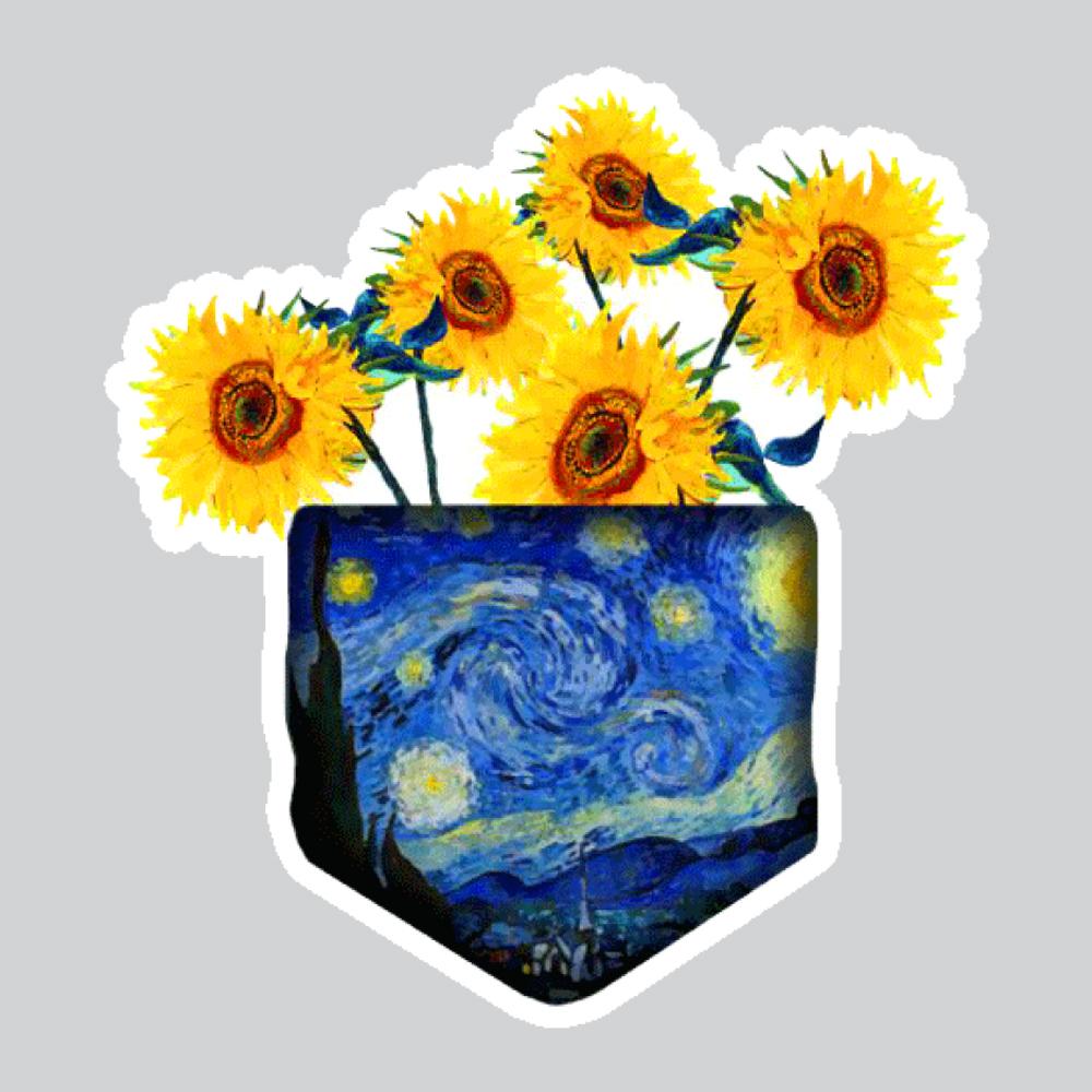 بررسی و {خرید با تخفیف} استیکر لپ تاپ پیکسل میکسل مدل گل و شب پر ستاره ونگوک اصل