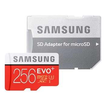 کارت حافظه microSDXC سامسونگ مدل Evo Plus کلاس 10 استاندارد UHS-I U3 سرعت 100MBps ظرفیت 256 گیگابایت به همراه آداپتور SD