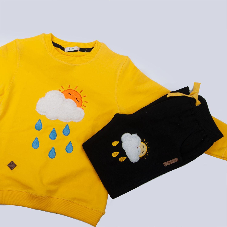 ست تیشرت و شلوار پسرانه طرح ابر کد 403 رنگ زرد -  - 3