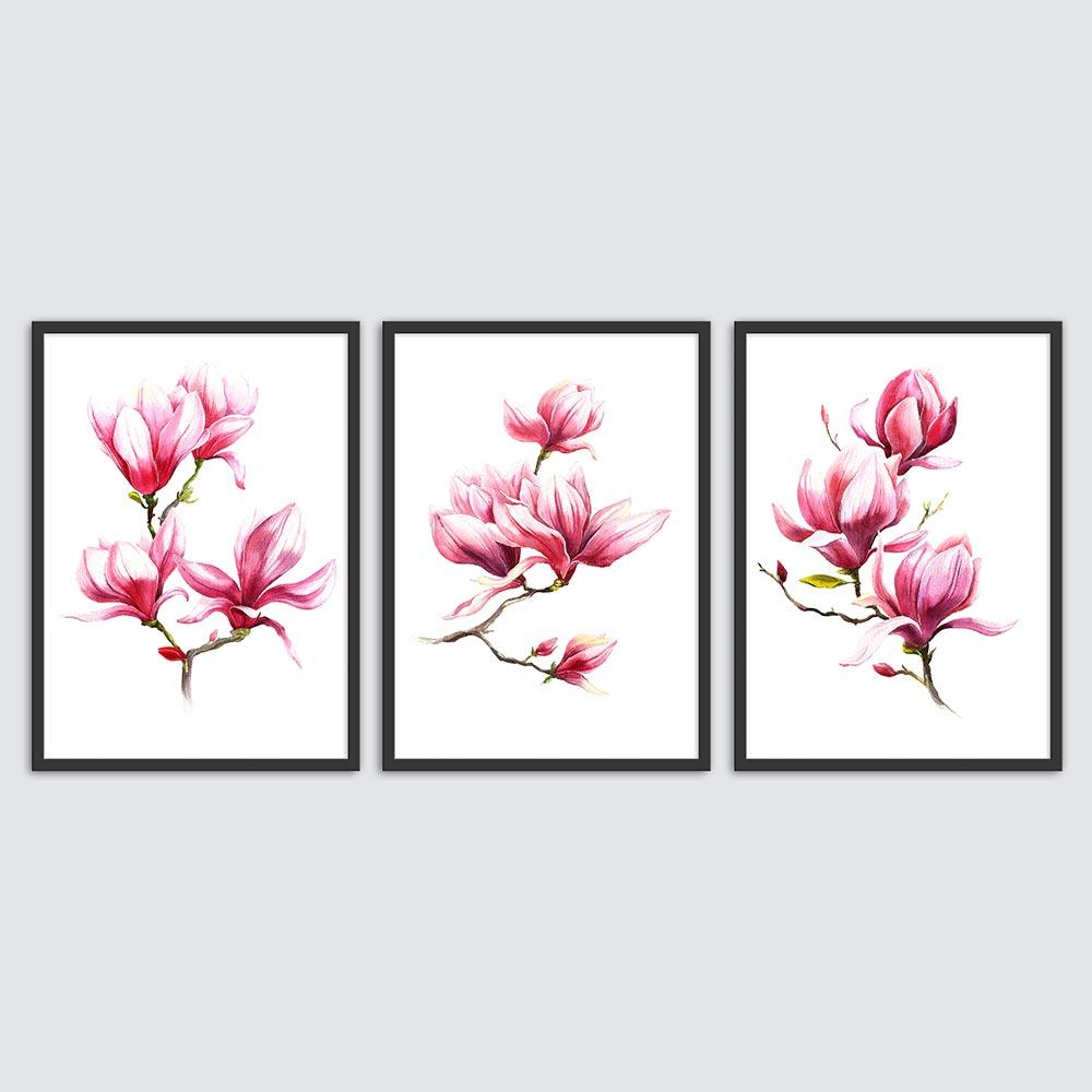 تابلو سالی وود طرح طراوت گل کد T110605 مجموعه 3 عددی