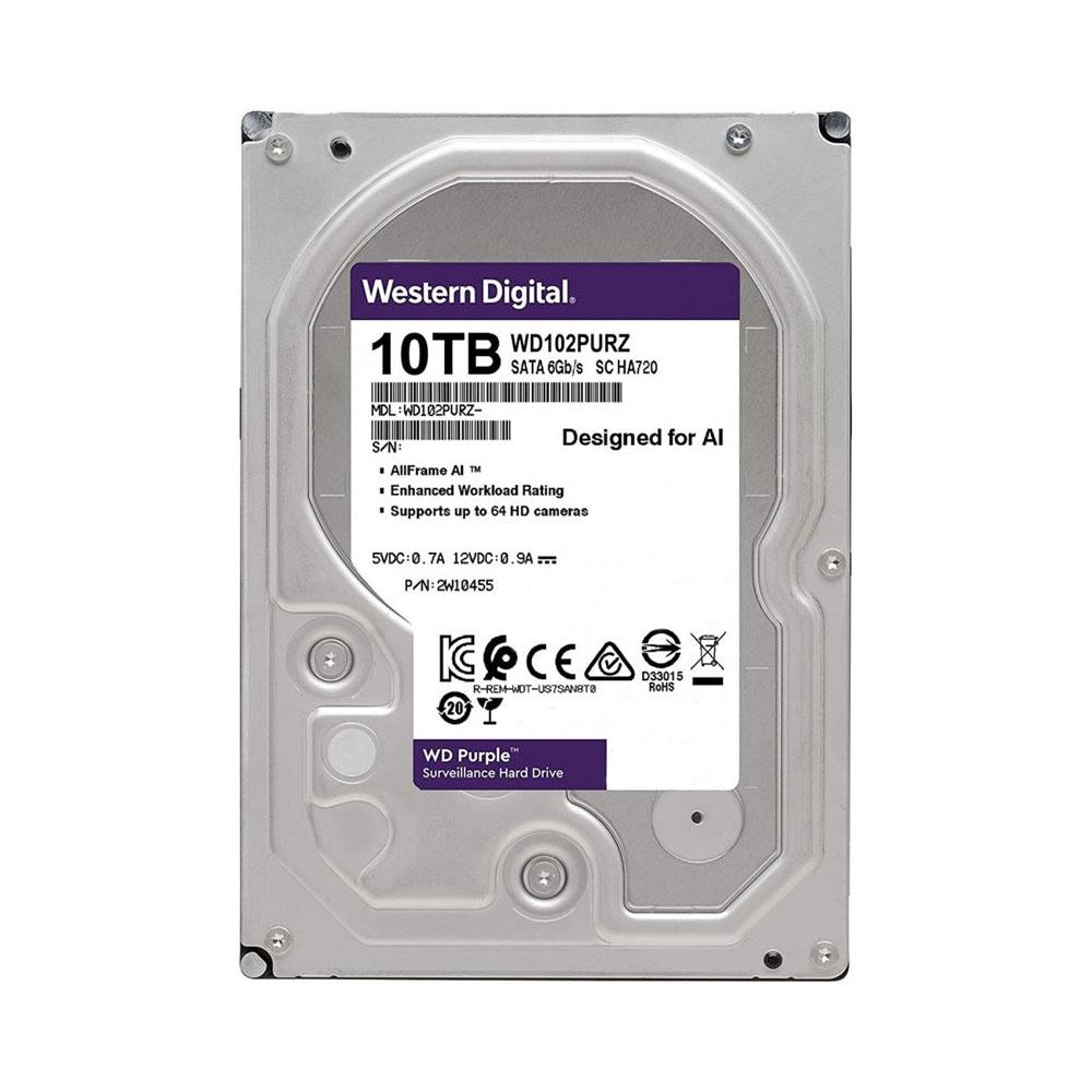 هارد اینترنال وسترن دیجیتال مدل Purple WD102PURZ ظرفیت ۱۰ ترابایت