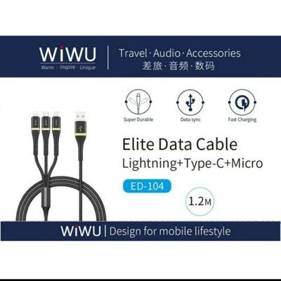 کابل تبدیل USB به microUSB / USB-C / لایتنینگ ویوو  مدل ED 104 طول 1.2 متر
