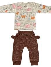 ست تی شرت و شلوار نوزادی طرح حیوانات کد FF-083  -  - 1