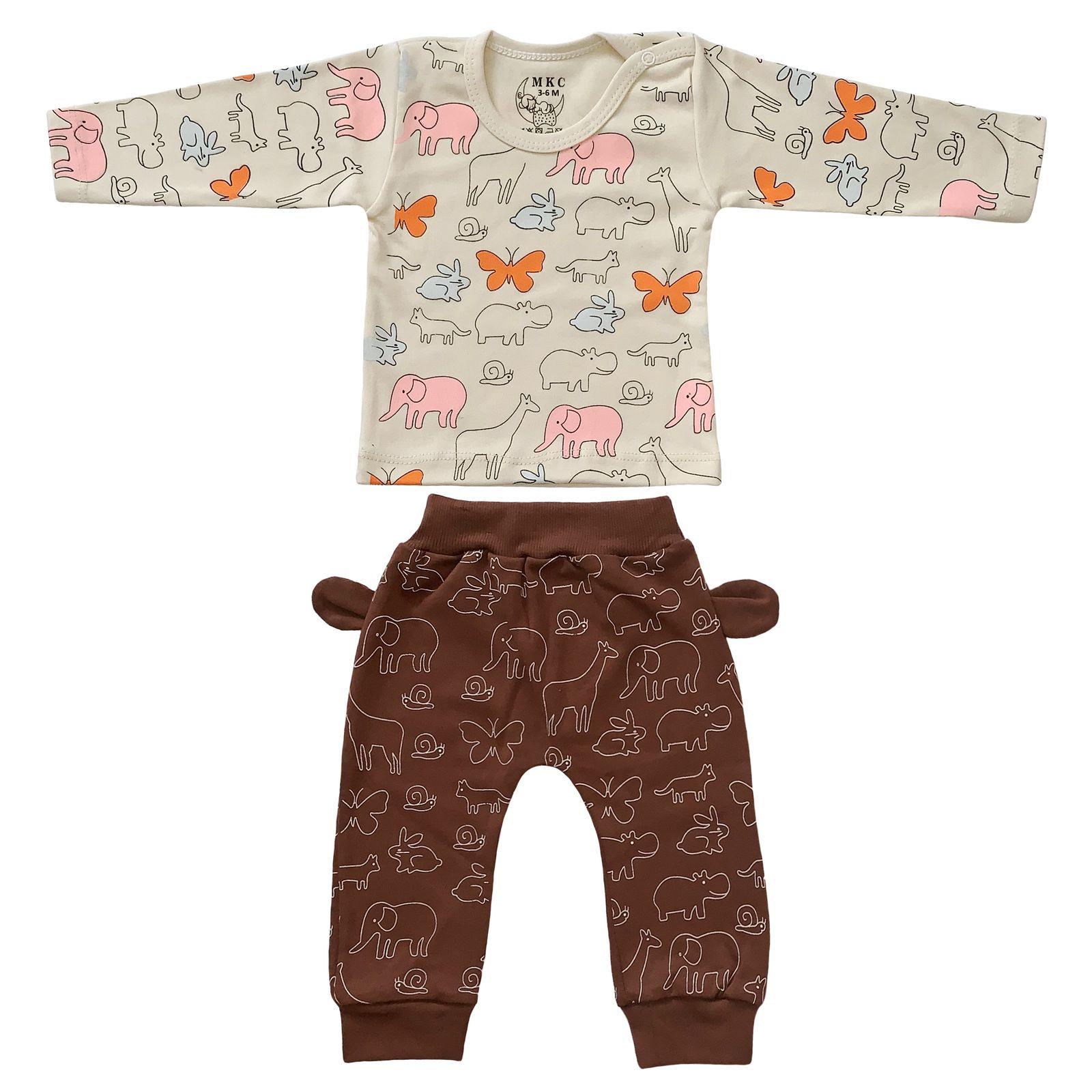 ست تی شرت و شلوار نوزادی طرح حیوانات کد FF-083  -  - 2