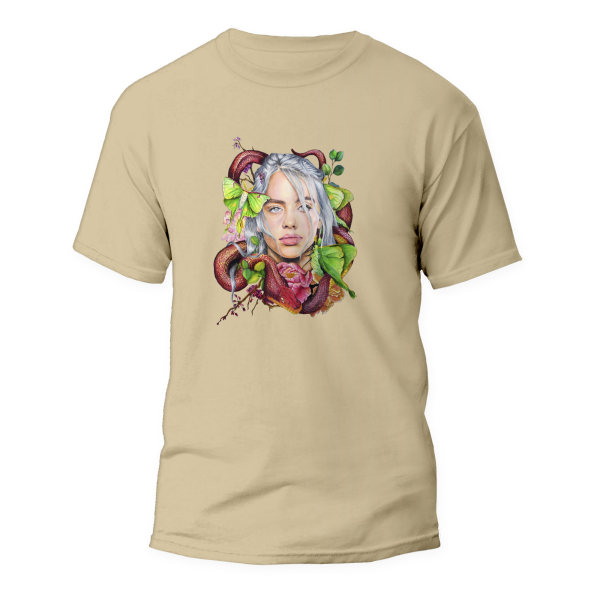 تیشرت زنانه طرح بیلی آیلیش کد ART-0270-C رنگ کرم