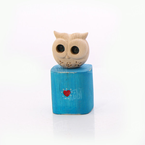 مجسمه چوبی رنگ آمیزی  رنگ آبی  طرح جغد  مدل 1105900046