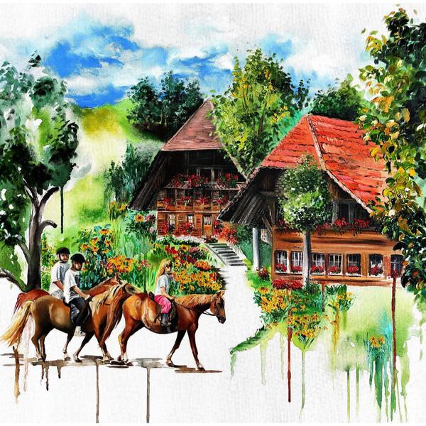 تابلو نقاشی رنگ روغن مدل بهشت احساس