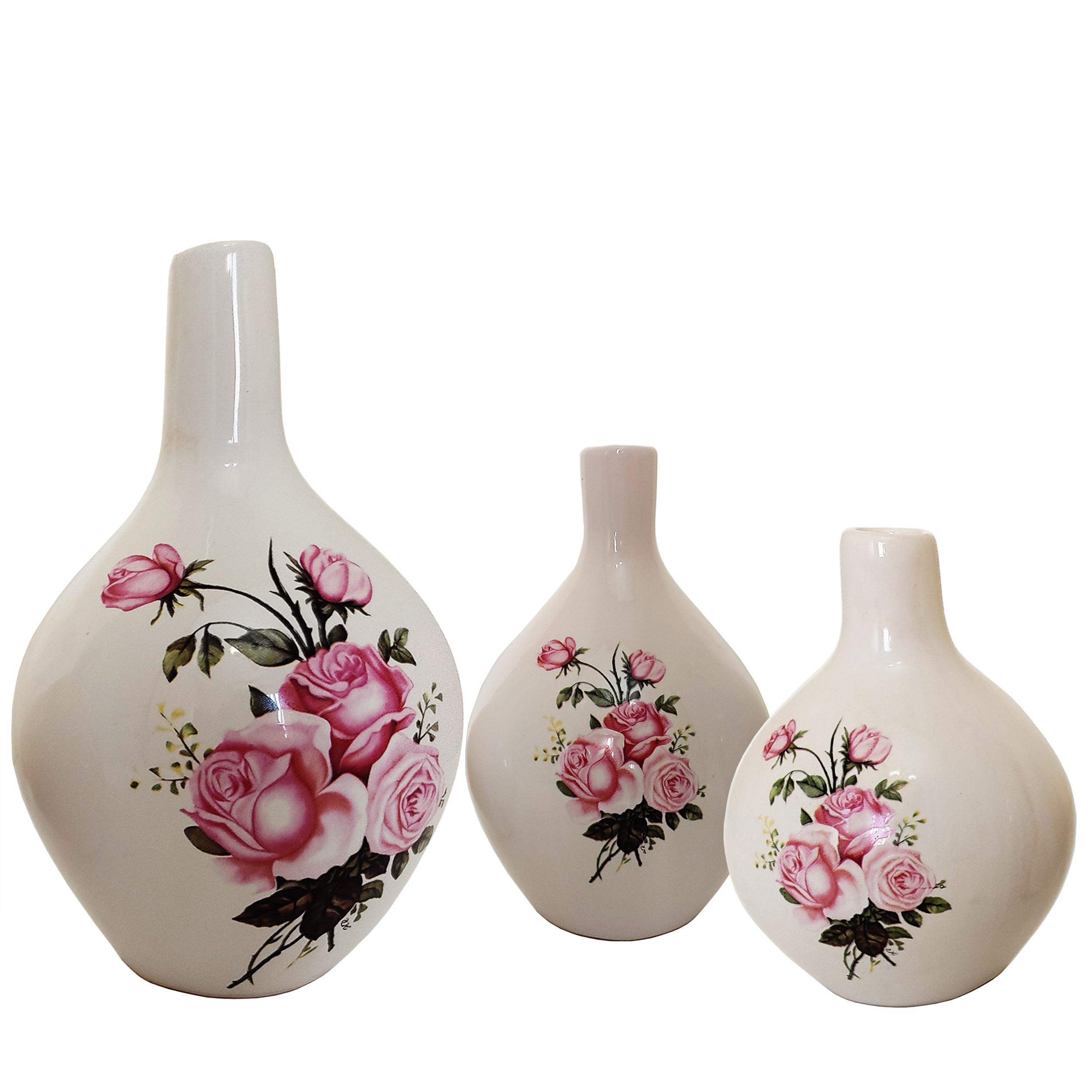 گلدان سفالی مدل نسترن مجموعه 3 عددی
