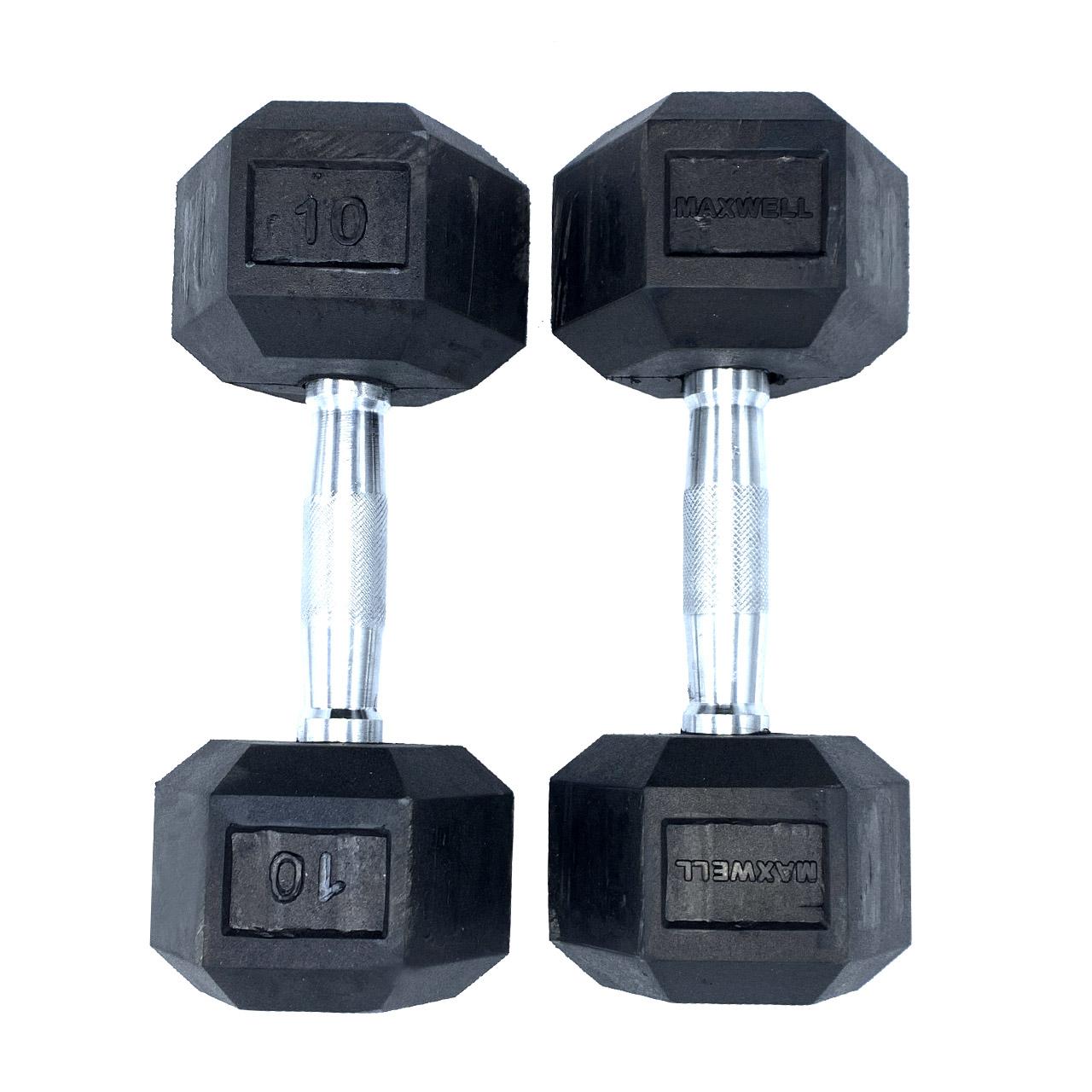 دمبل مکسول کد MX10 وزن 10 کیلوگرم بسته ۲ عددی