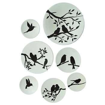 بشقاب دیوارکوب سفالی طرح پرنده کد D114-A مجموعه 7 عددی