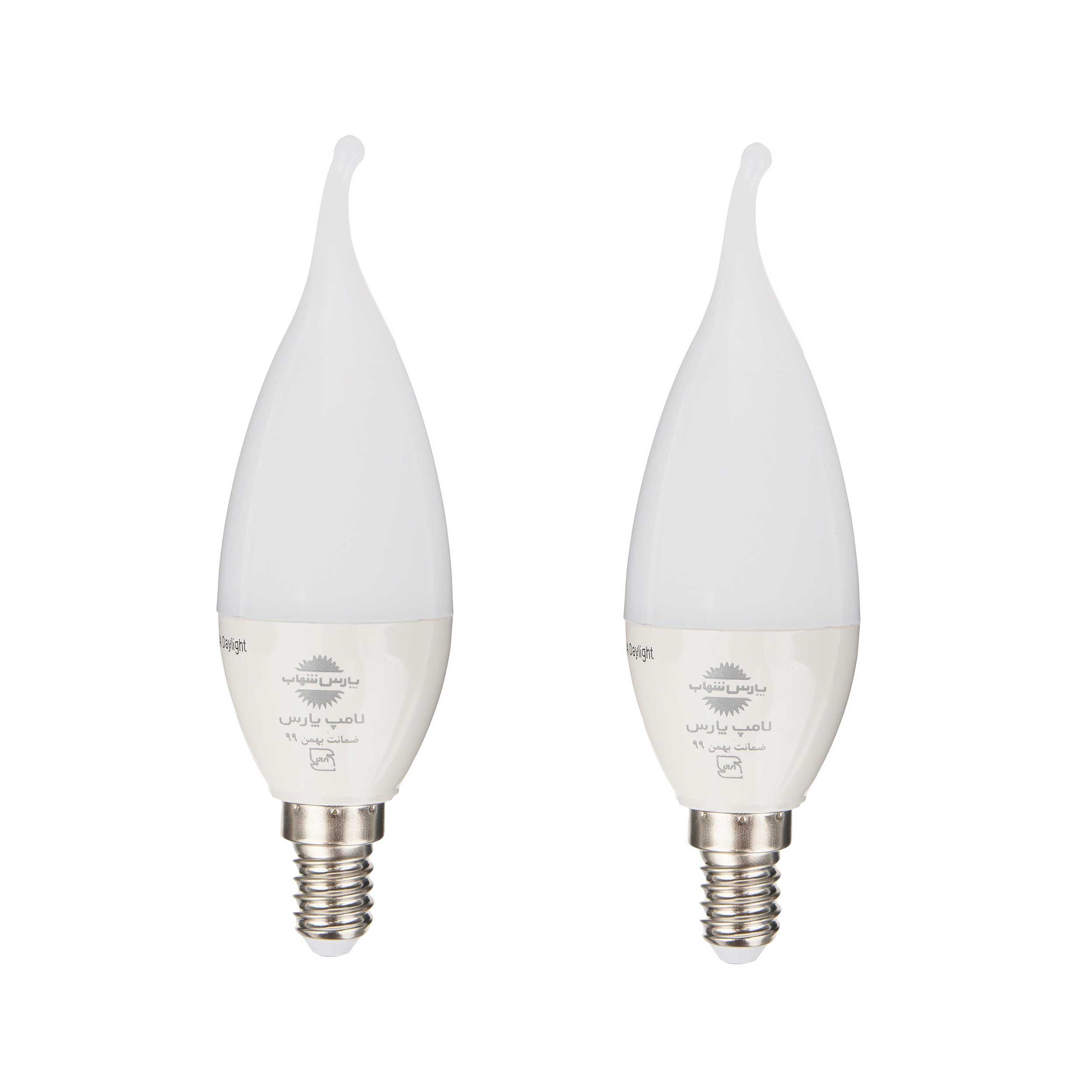 لامپ ال ای دی 6 وات دیمردار پارس شهاب مدل 001 پایه E14 بسته 2 عددی