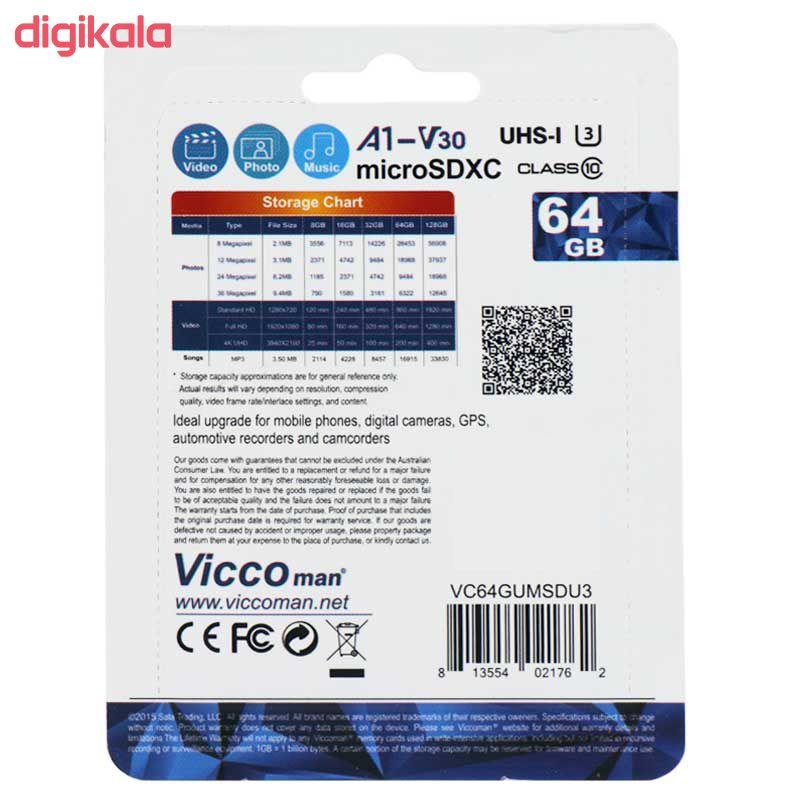 کارت حافظه microSDHC ویکو من مدل Extre600X کلاس 10 استاندارد UHS-I U3 سرعت 90MBps ظرفیت 64گیگابایت همراه با کارت خوان main 1 2