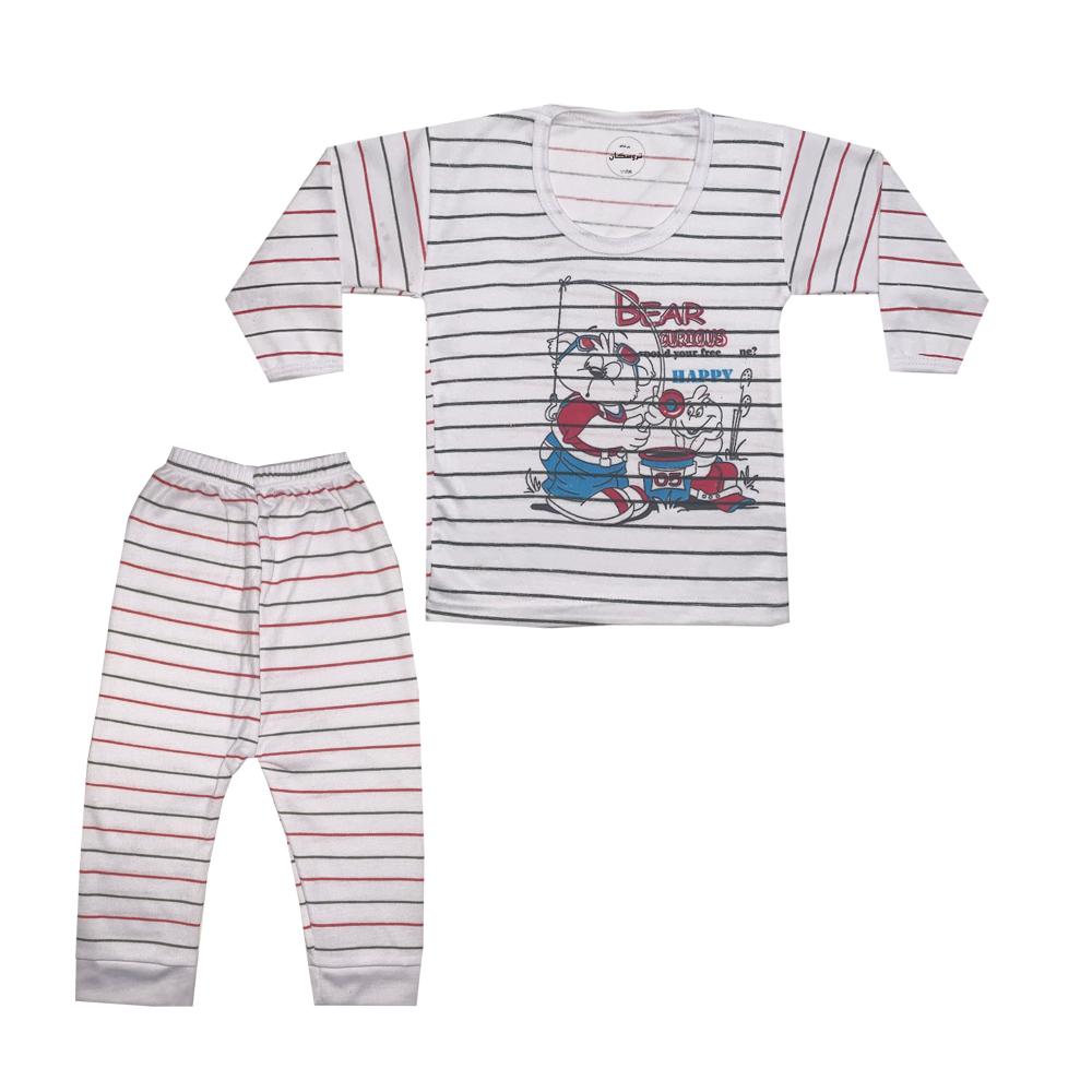 ست تی شرت و شلوار نوزادی تروسکان مدل خرس ماهی گیر