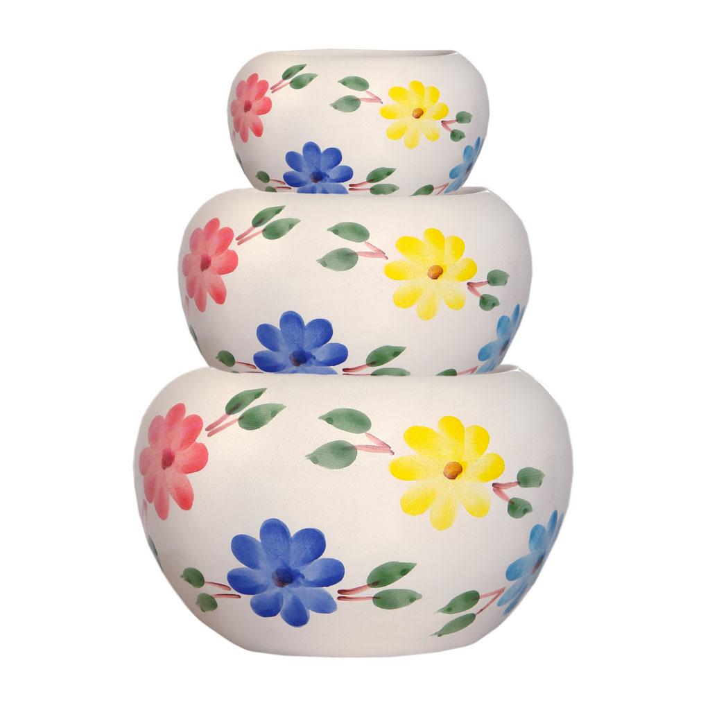 گلدان سفالی طرح گلدار کد w01 مجموعه 3 عددی