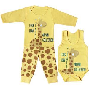 ست 3 تکه لباس نوزادی مدل زرافه کد tak