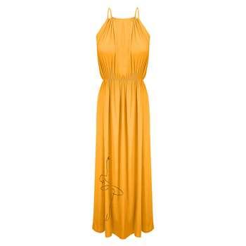 پیراهن ساحلی زنانه مدل BR084 رنگ زرد