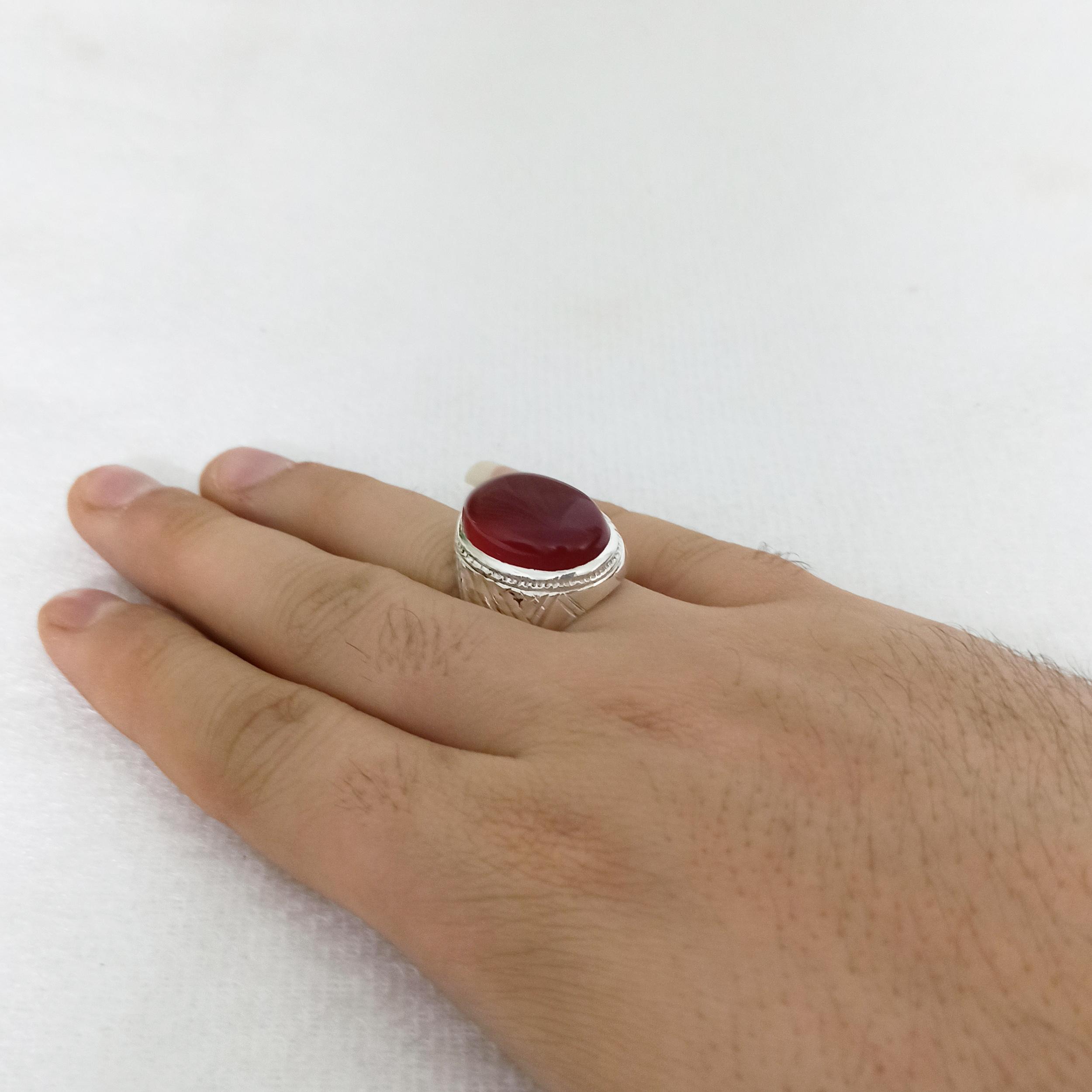 انگشتر نقره مردانه سلین کالا مدل عقیق یمن کد ce-anma35