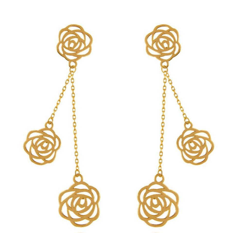 گوشواره طلا 18 عیار زنانه آمانژ طرح گل رز کد 1247D9171