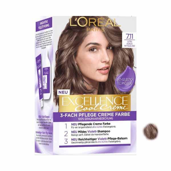 کیت رنگ مو لورآل سری excellence شماره 7.11حجم 48 میلی لیتر رنگ بلوند خاکستری روشن