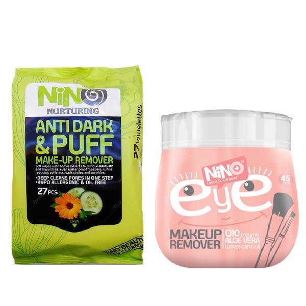 دستمال مرطوب پاک کننده آرایش نينو مدل Anti Dark & Puff بسته 27 عددی به همراه دستمال مرطوب پاک کننده آرایش مدل EYE بسته 45 عددی
