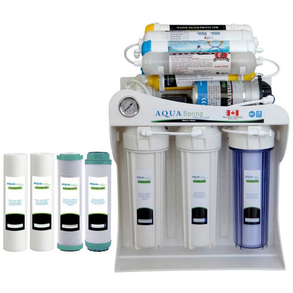 دستگاه تصفیه کننده آب آکوآ اسپرینگ مدل NF - SF4200 به همراه فیلتر تصفیه آب مجموعه 4 عددی