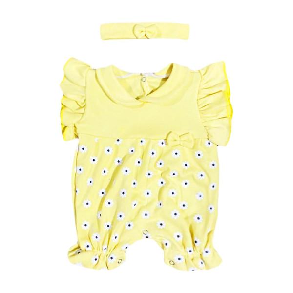 ست سرهمی و هدبند نوزادی مدل گل رنگ زرد