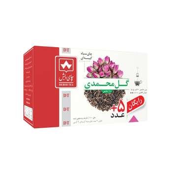 چای سیاه کیسه ای گل محمدی چای دبش بسته 25 عددی
