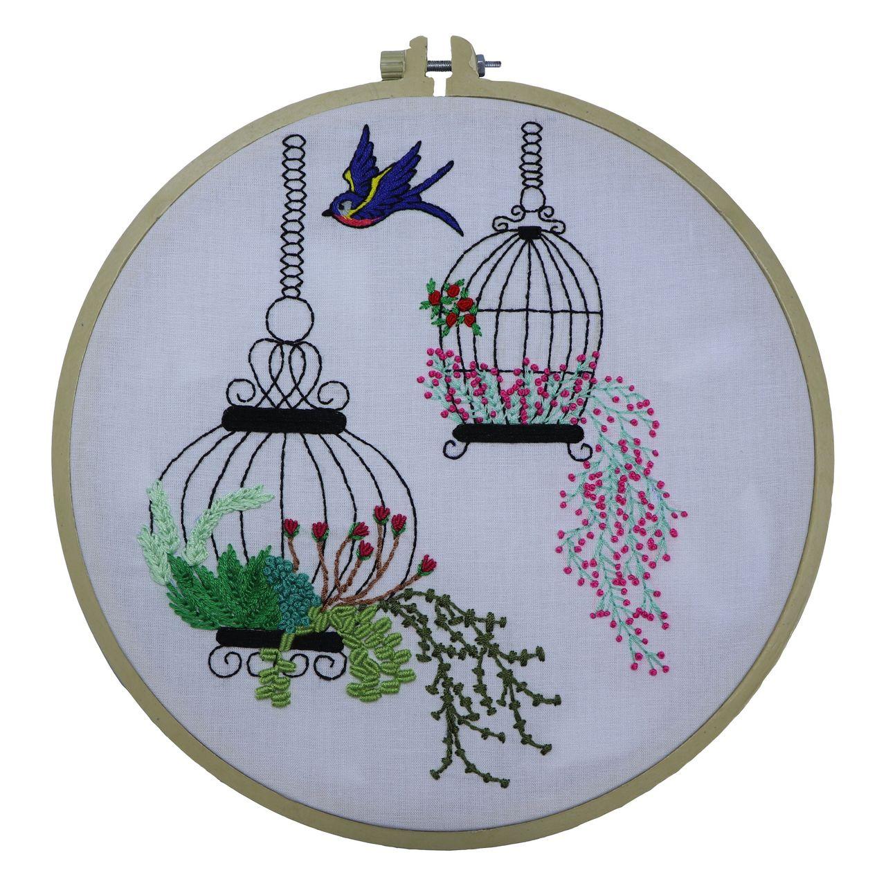 تابلو گلدوزی طرح پرنده و قفس کد M12