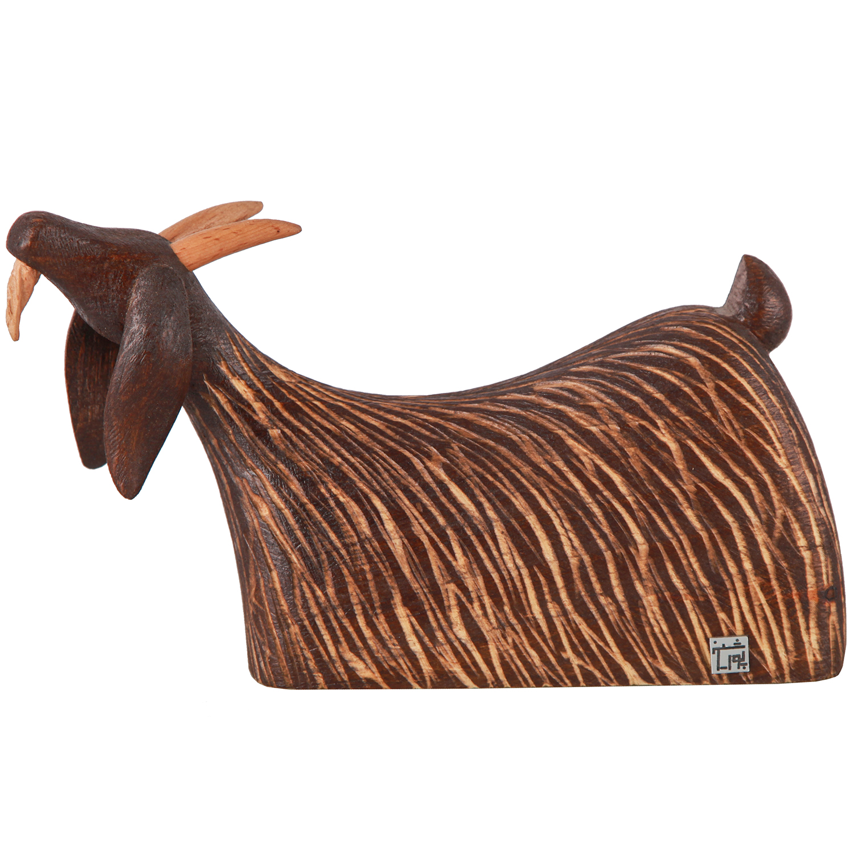خرید                      مجسمه چوبی پورشیخ طرح بز کد 190012
