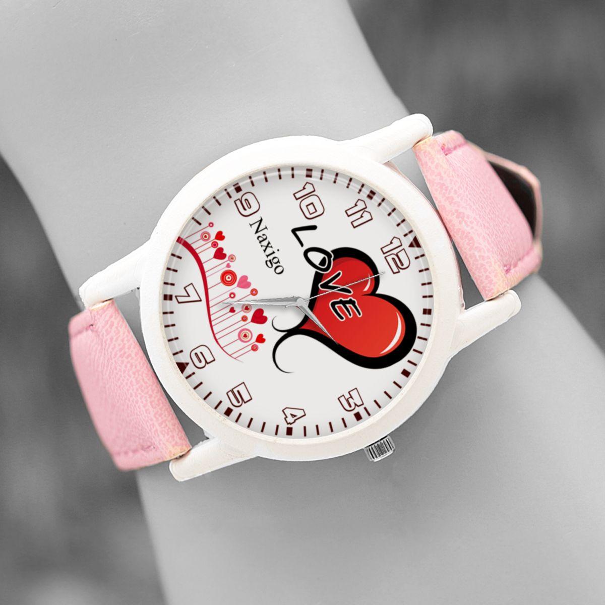 ساعت مچی عقربه ای زنانه ناکسیگو طرح قلب کد LF3312 -  - 4