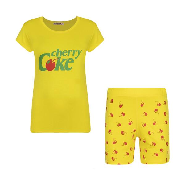 ست تی شرت و شلوارک زنانه افراتین مدل آلبالو کد 6557 رنگ زرد