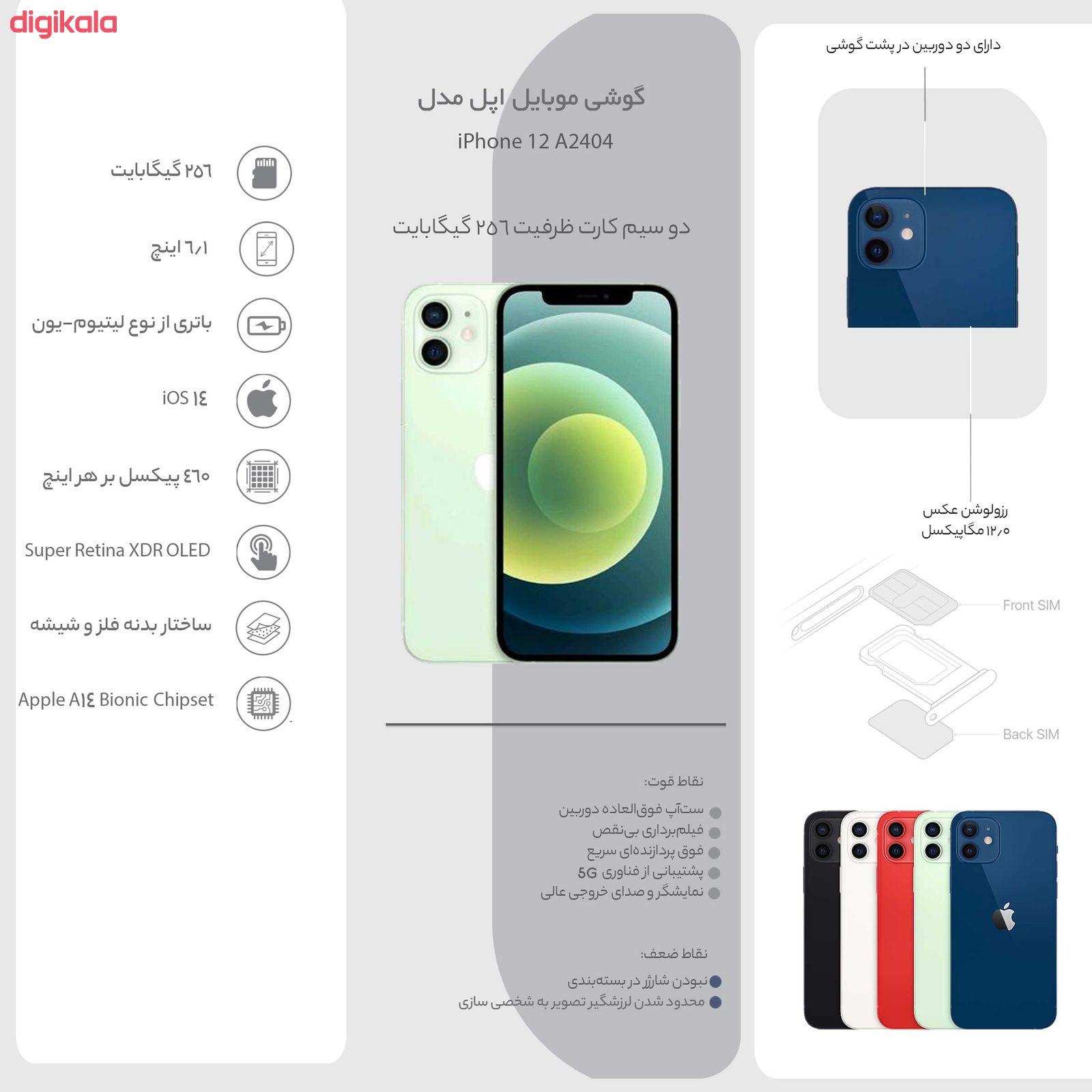 گوشی موبایل اپل مدل iPhone 12 A2404 دو سیم کارت ظرفیت 256 گیگابایت  main 1 4