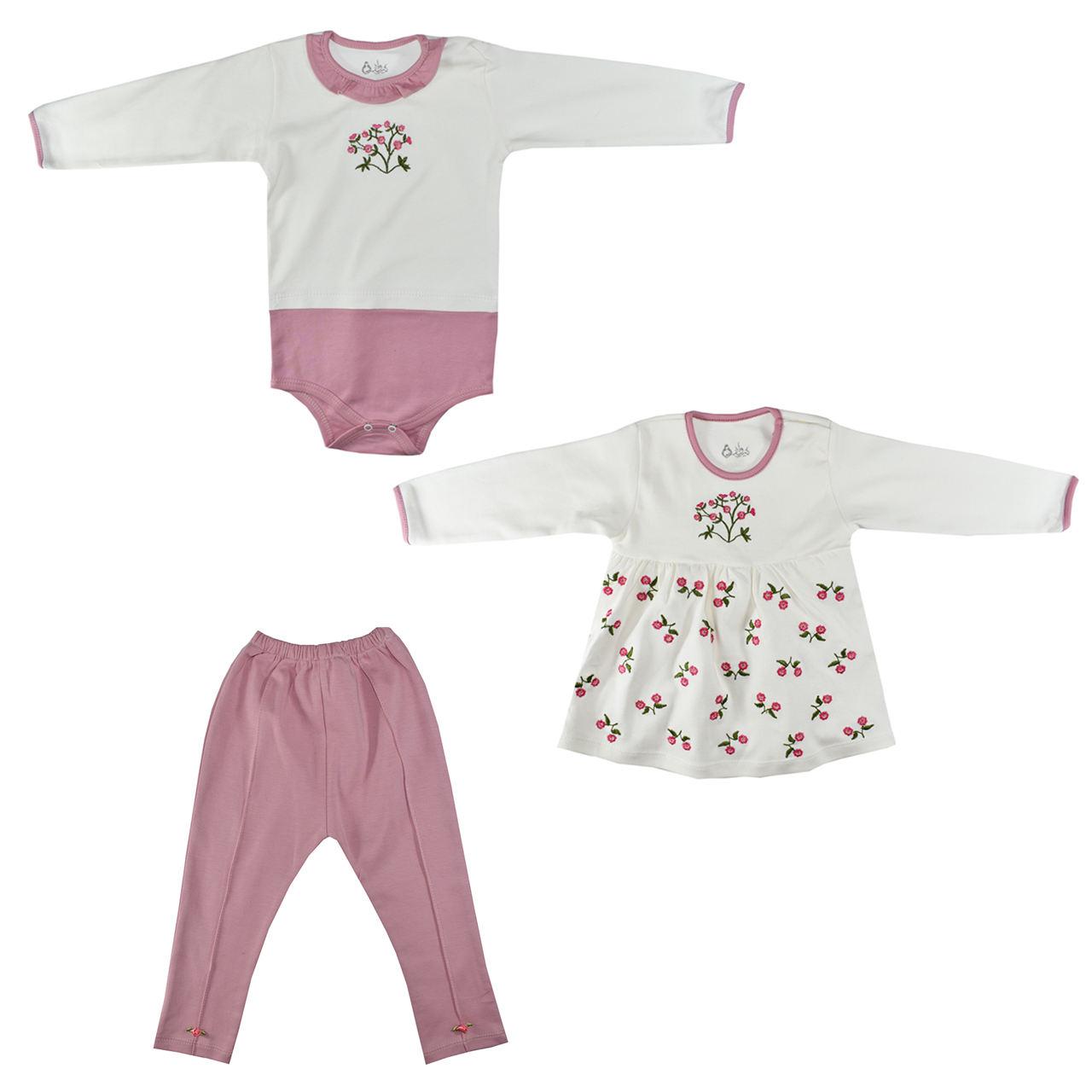 ست 3 تکه لباس نوزادی نیروان طرح گل کد 3 -  - 2