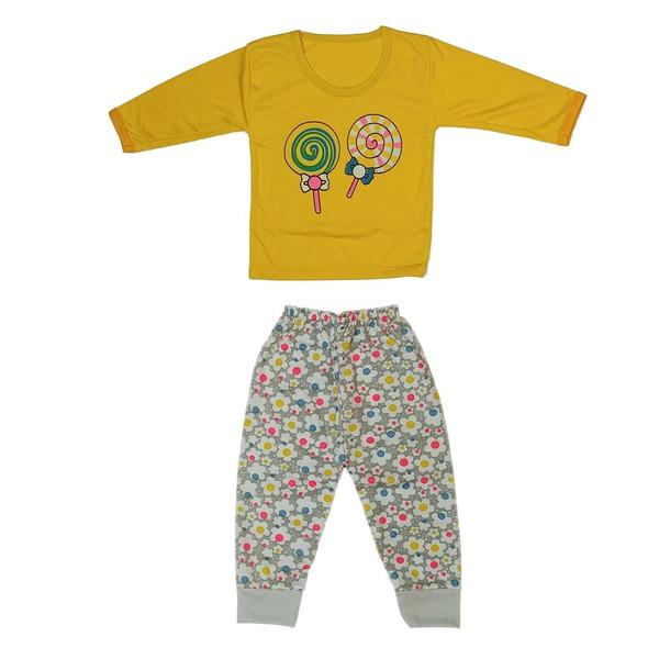 ست تی شرت و شلوار نوزادی طرح آبنبات چوبی